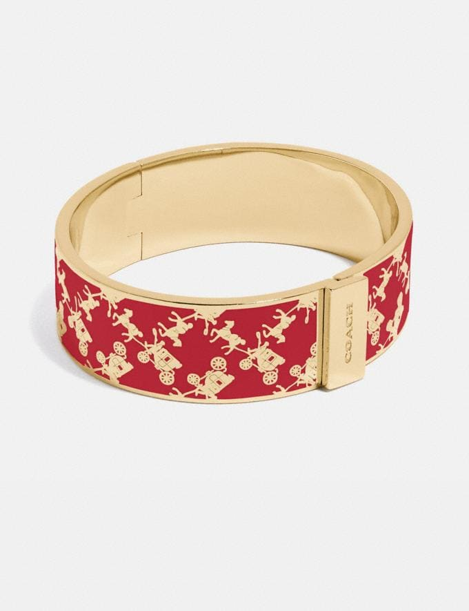Coach Horse and Carriage Bangle Gold/Red Apple New Women's New Arrivals Accessories