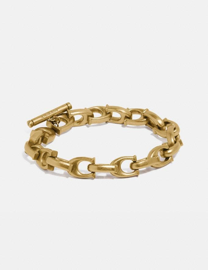 Coach Sculpted Signature Chain Bracelet Gold Women Accessories Jewelry & Watches