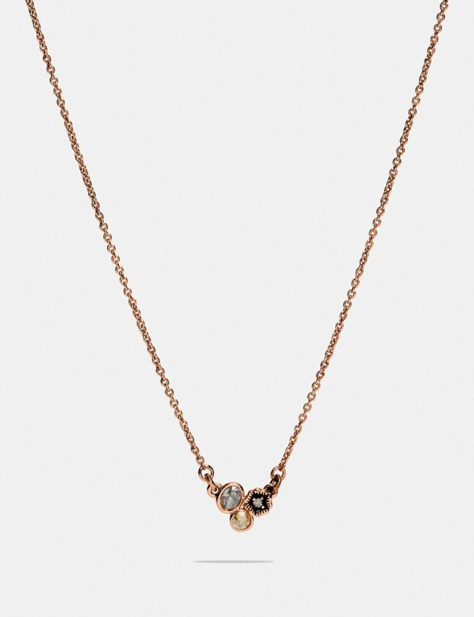 Coach Mini Tea Rose Cluster Slider Necklace Rose Gold/Multi Women Accessories Jewellery Necklaces