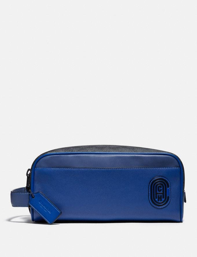 Coach Travel Kit in Signature Canvas With Coach Patch Charcoal/Deep Sky Men Edits Work