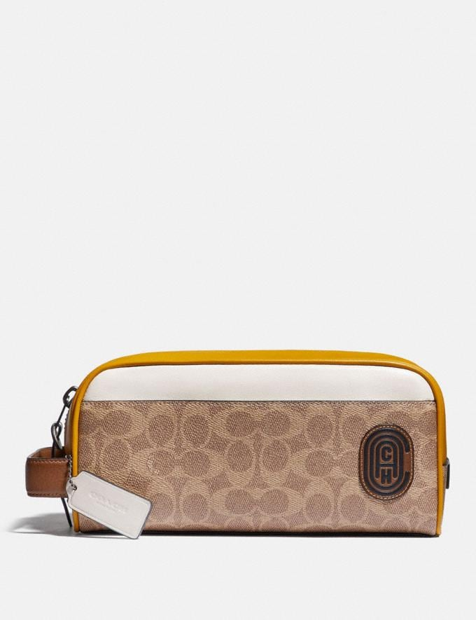 Coach Travel Kit in Signature Canvas With Coach Patch Khaki/Flax Men Edits Work