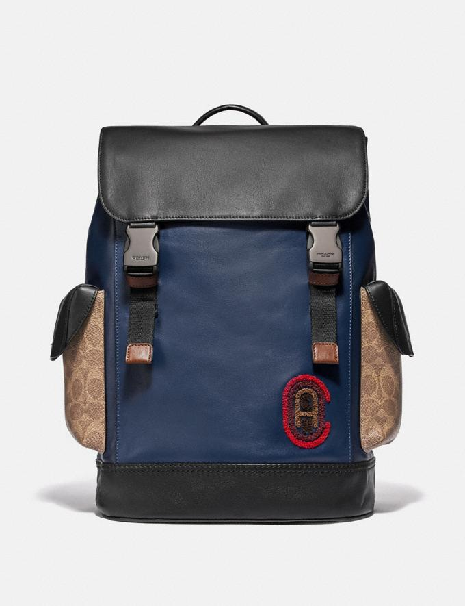 Coach Rivington Backpack With Signature Canvas Detail and Coach Patch Black Copper/Khaki/True Navy Men Bags Backpacks
