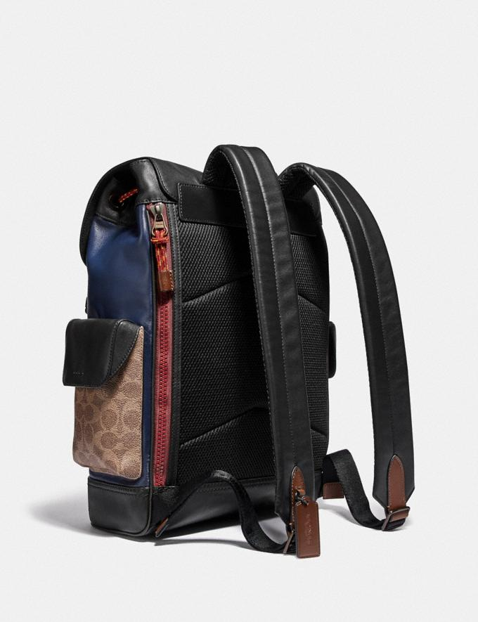 Coach Rivington Backpack With Signature Canvas Detail and Coach Patch Black Copper/Khaki/True Navy Men Bags Backpacks Alternate View 1