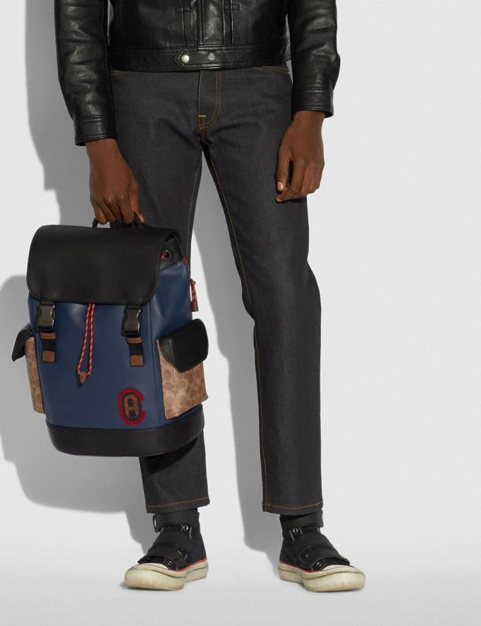 Coach Rivington Backpack With Signature Canvas Detail and Coach Patch Black Copper/Khaki/True Navy Men Bags Backpacks Alternate View 4