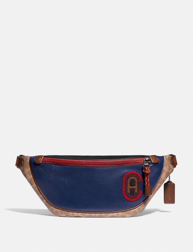 Coach Rivington Belt Bag in Signature Canvas With Coach Patch Black Copper/Khaki/True Navy SALE Men's Sale