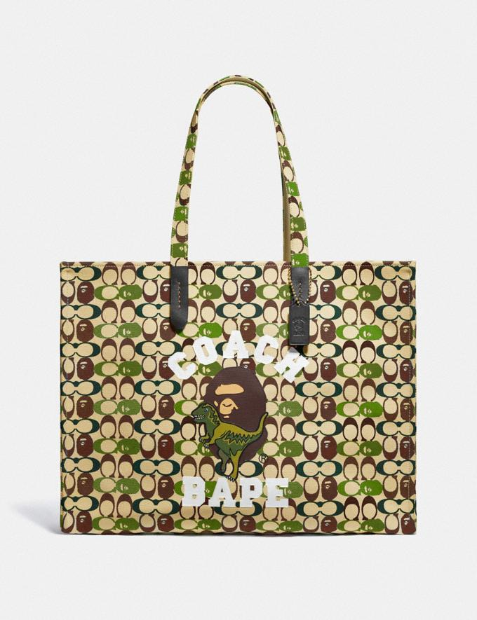 Coach Bape X Coach Tote 47 in Signature Canvas With Ape Head Black Copper/Camo Multi