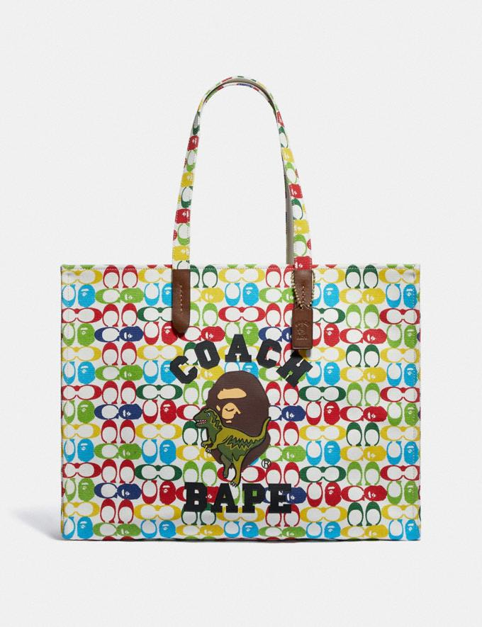 Coach Bape X Coach Tote 47 in Signature Canvas With Ape Head Brass/Multi