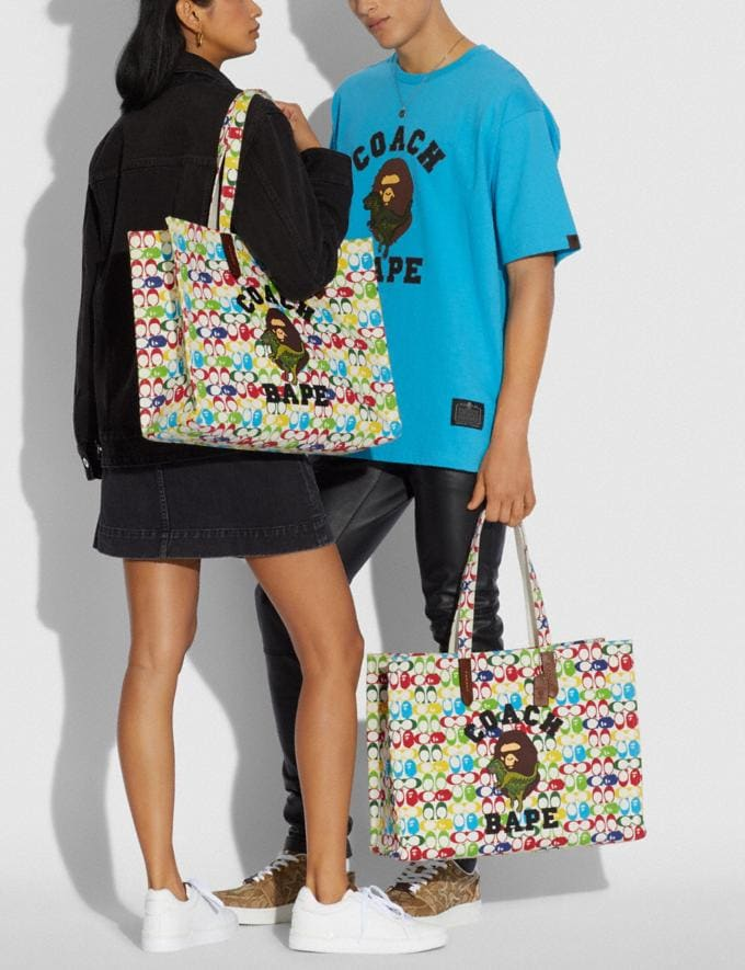 Coach Bape X Coach Tote 47 in Signature Canvas With Ape Head Brass/Multi  Alternate View 3