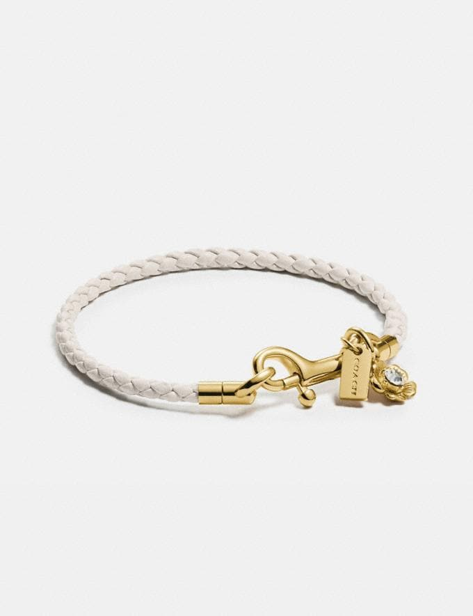 Coach Braided Friendship Bracelet With Tea Rose Charm Gold/Chalk Women