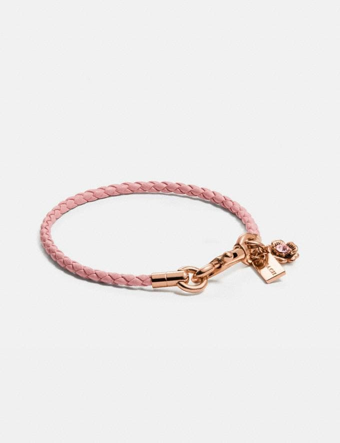 Coach Braided Friendship Bracelet With Tea Rose Charm Rose Gold/Blossom Gifts For Her Under $100