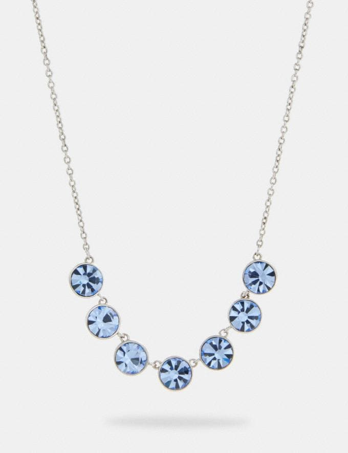 Coach Crystal Link Necklace Sv/Blue