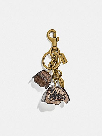 tea rose bag charm in snakeskin