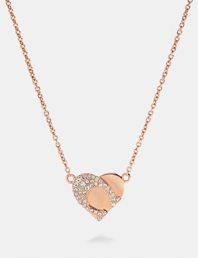 Coach Signature Heart Necklace Rosegold