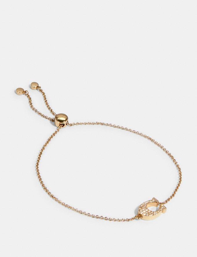 Coach Pave Signature Slider Bracelet Rosegold