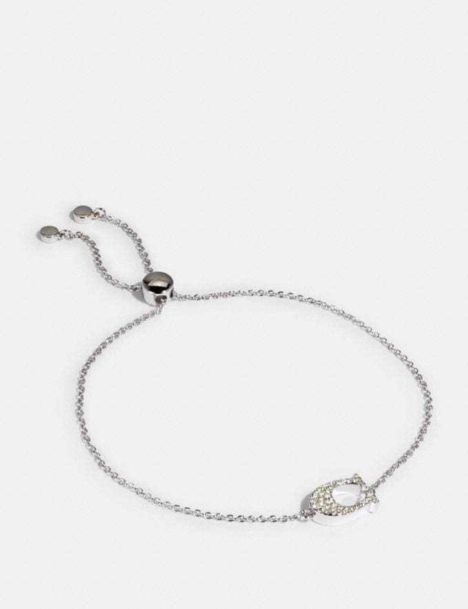 Coach Pave Signature Slider Bracelet Silver