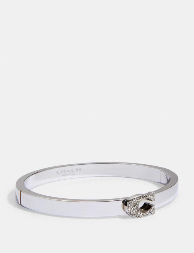 Coach Pave Signature Hinged Bangle Silver