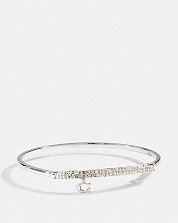 signature pave bar hinged bangle