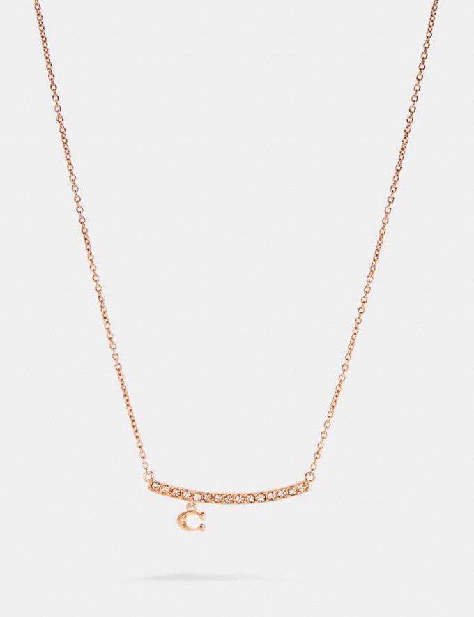 Coach Signature Pave Bar Necklace Rosegold