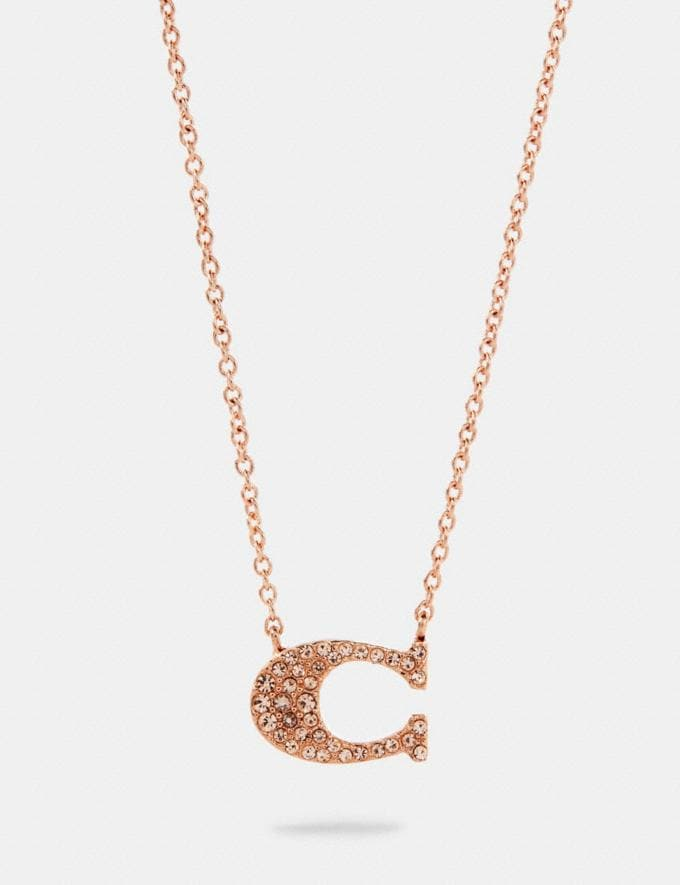 Coach Pave Signature Necklace Rosegold