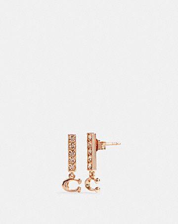 signature pave bar stud earrings