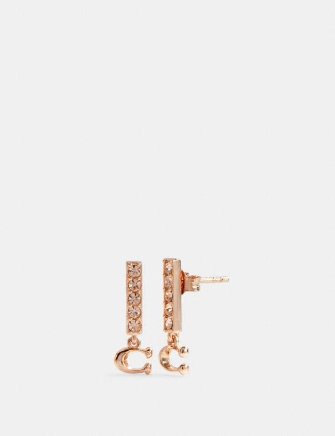 Coach Signature Pave Bar Stud Earrings Rosegold