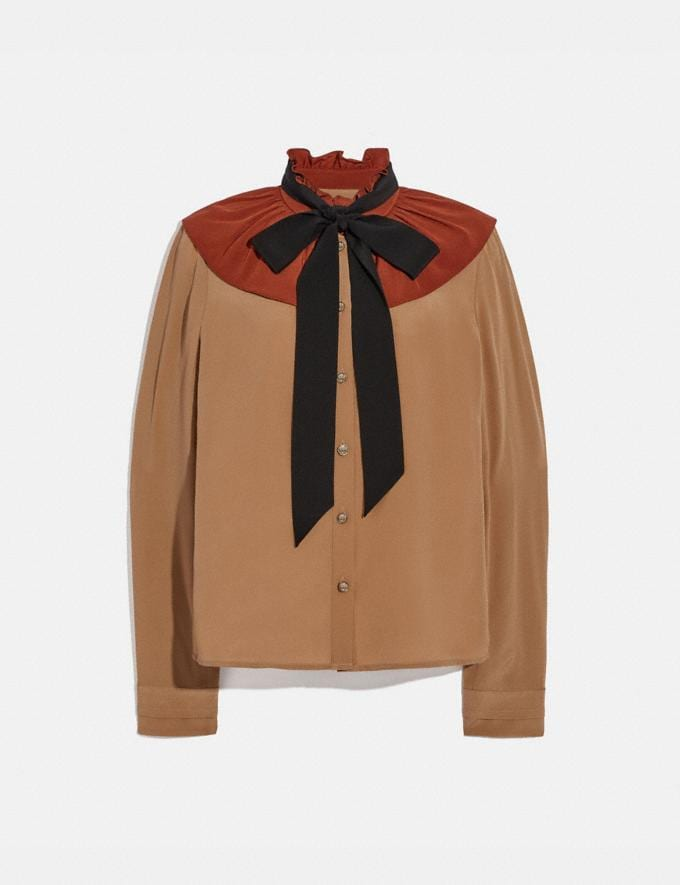 Coach Gathered Collar Blouse Camel New Women's New Arrivals Ready-to-Wear