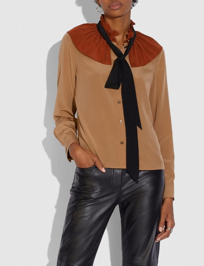 Coach Gathered Collar Blouse Camel New Women's New Arrivals Ready-to-Wear Alternate View 1