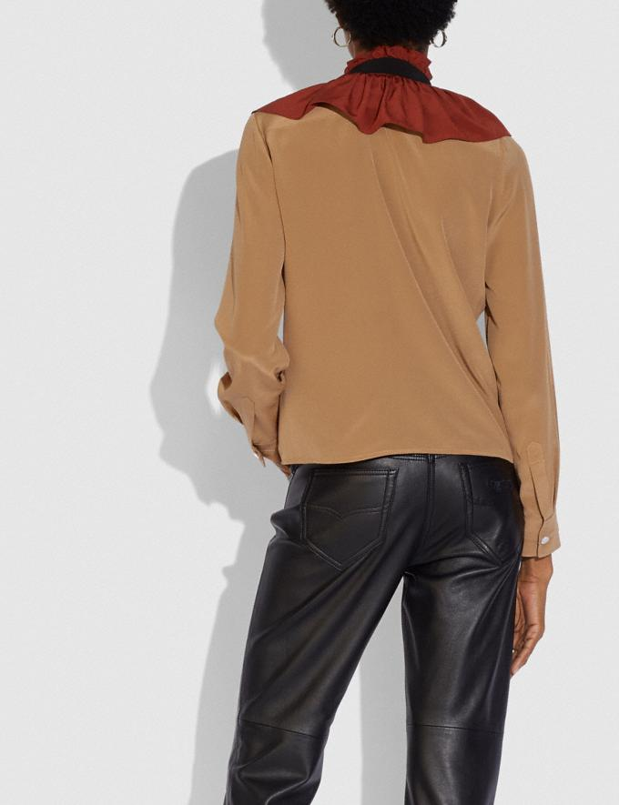 Coach Gathered Collar Blouse Camel New Women's New Arrivals Ready-to-Wear Alternate View 2