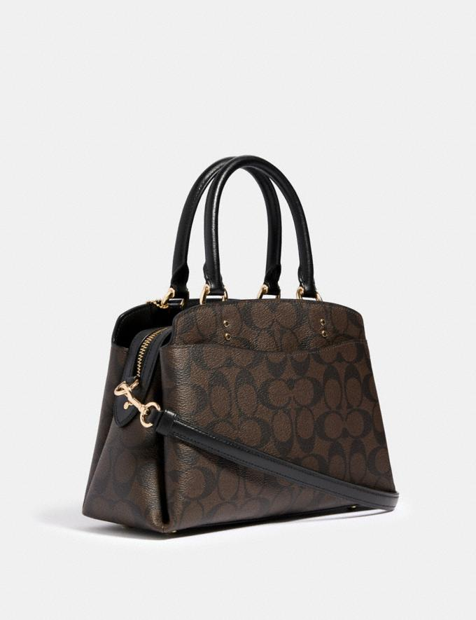 Coach Mini Lillie Carryall in Signature Canvas Im/Brown Black Women Business Essentials Alternate View 1