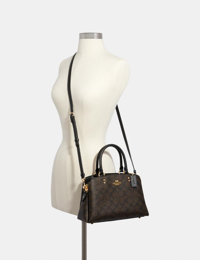 Coach Mini Lillie Carryall in Signature Canvas Im/Brown Black Women Business Essentials Alternate View 3