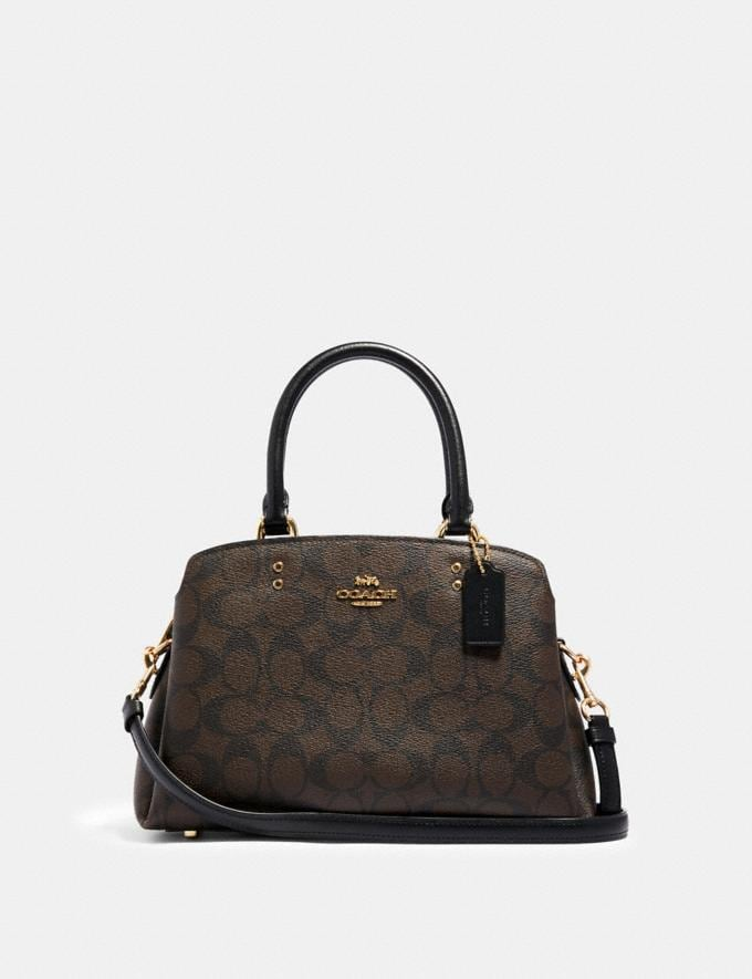 Coach Mini Lillie Carryall in Signature Canvas Im/Brown Black Women Business Essentials