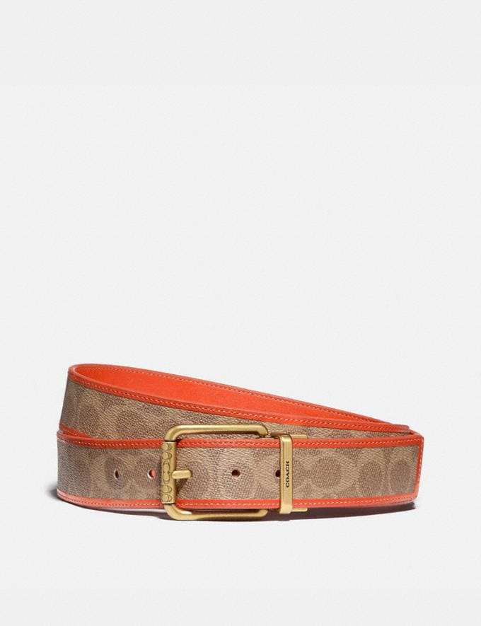 Coach Roller Buckle Cut-To-Size Reversible Belt, 38mm Khaki/Mango Men Accessories Belts