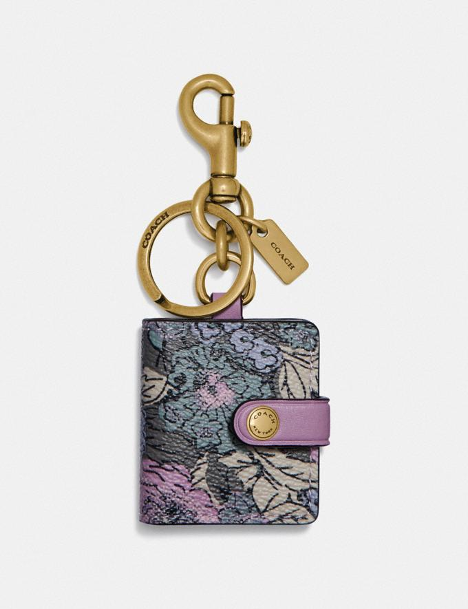 Coach Picture Frame Bag Charm With Heritage Floral Print Brass/Soft Lilac Multi Women Accessories Bag Accessories & Keyholders