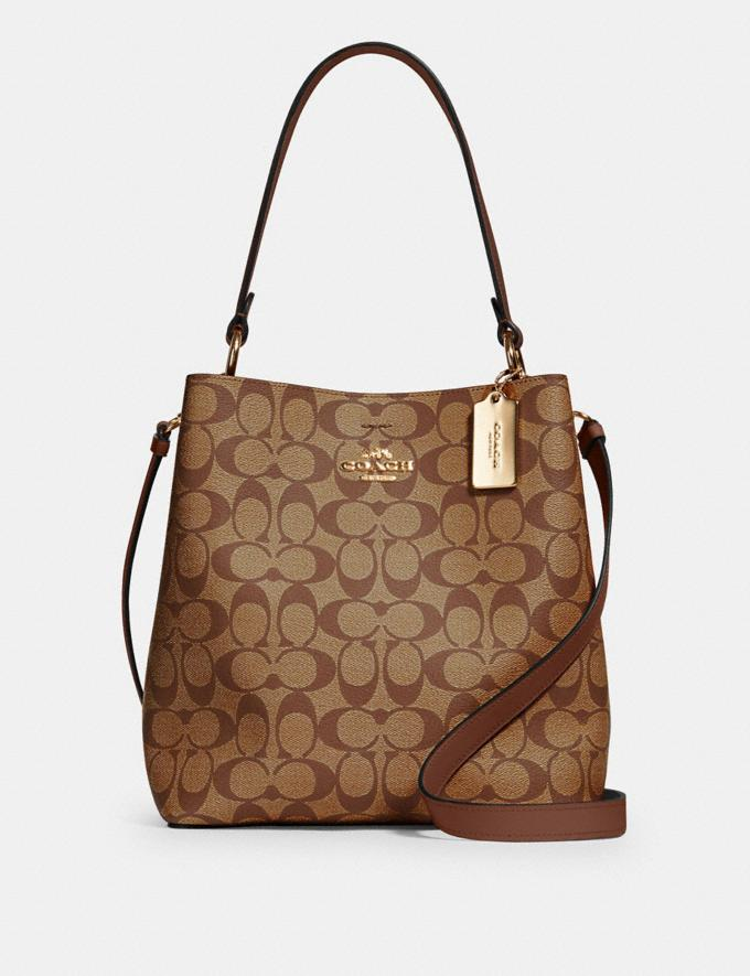 Coach Town Bucket Bag in Signature Canvas Im/Khaki Saddle 2 What's New