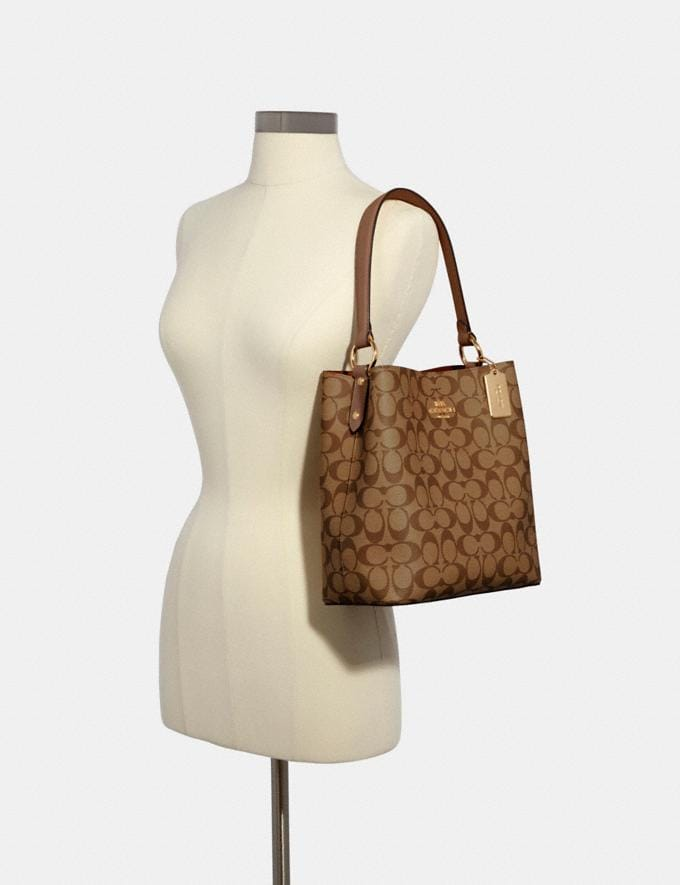 Coach Town Bucket Bag in Signature Canvas Im/Khaki Saddle 2 What's New Alternate View 2