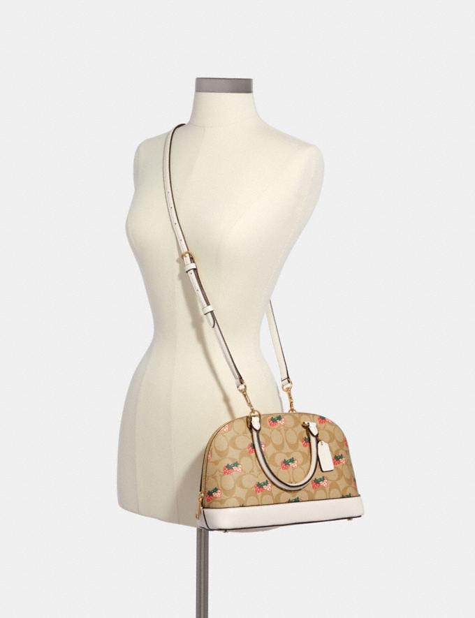 Coach Mini Sierra Satchel in Signature Canvas With Strawberry Print Im/Khaki Multi 70% Off Steals Alternate View 2