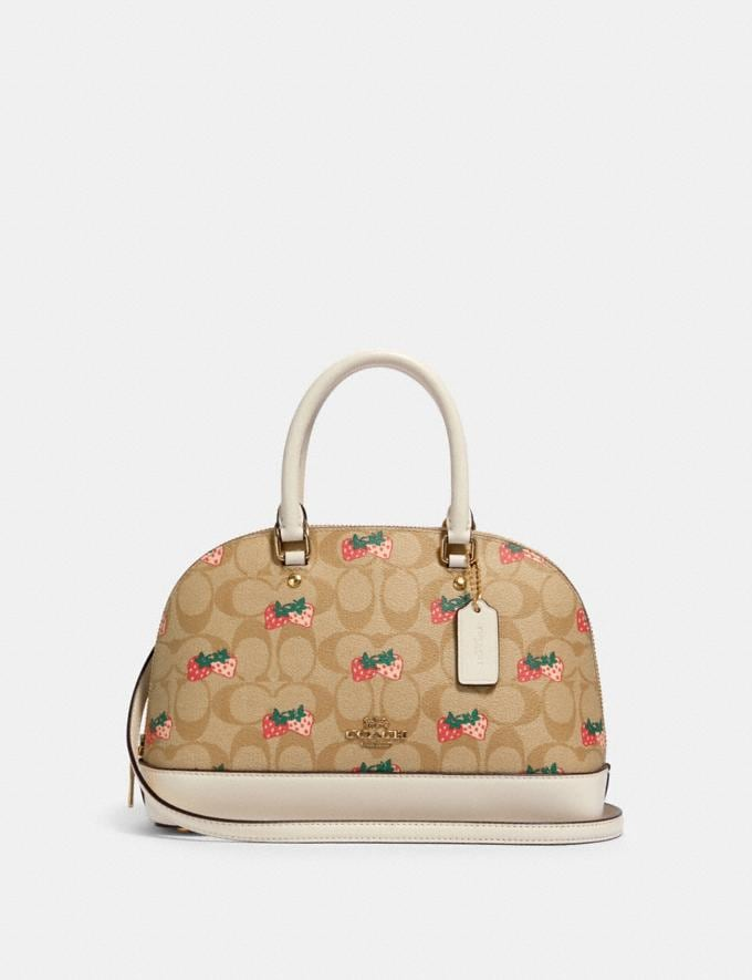Coach Mini Sierra Satchel in Signature Canvas With Strawberry Print Im/Khaki Multi 70% Off Steals