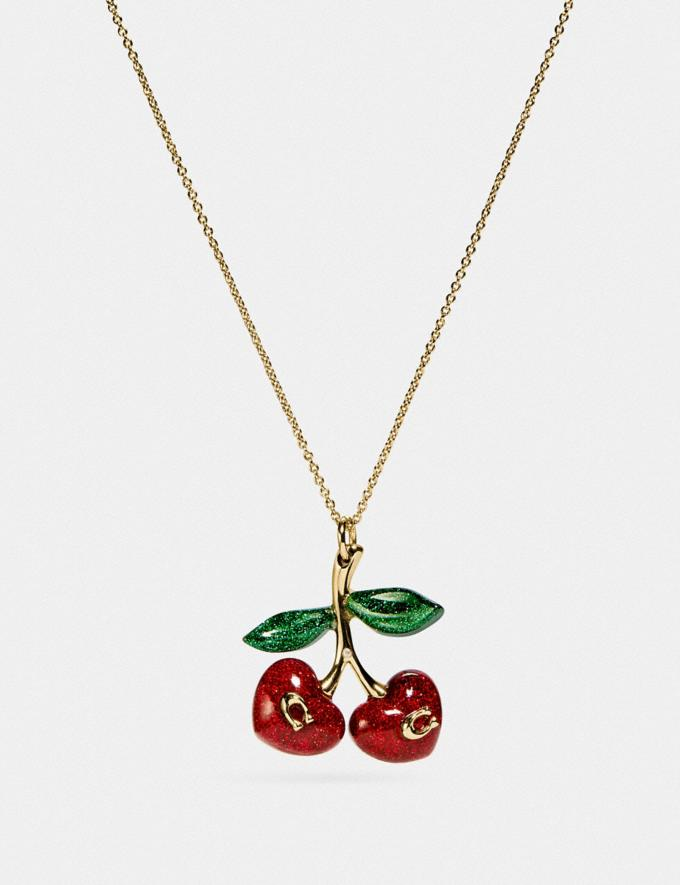 Coach Signature Cherry Necklace Gold/Red Women