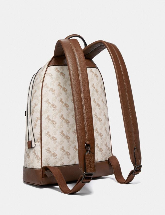 Coach Barrow Backpack With Horse and Carriage Print Black Copper/Chalk Men Bags Alternate View 1