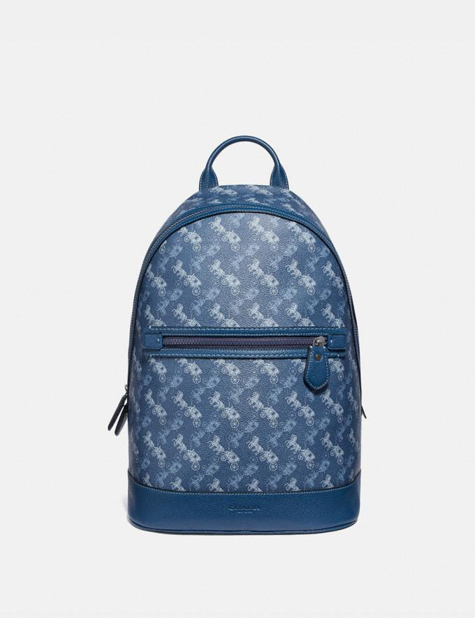 Coach Barrow Backpack With Horse and Carriage Print Black Copper/True Blue New Men's New Arrivals Bags