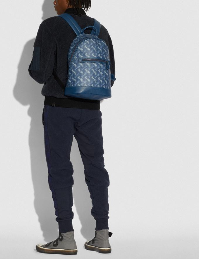 Coach Barrow Backpack With Horse and Carriage Print Black Copper/True Blue New Men's New Arrivals Bags Alternate View 3