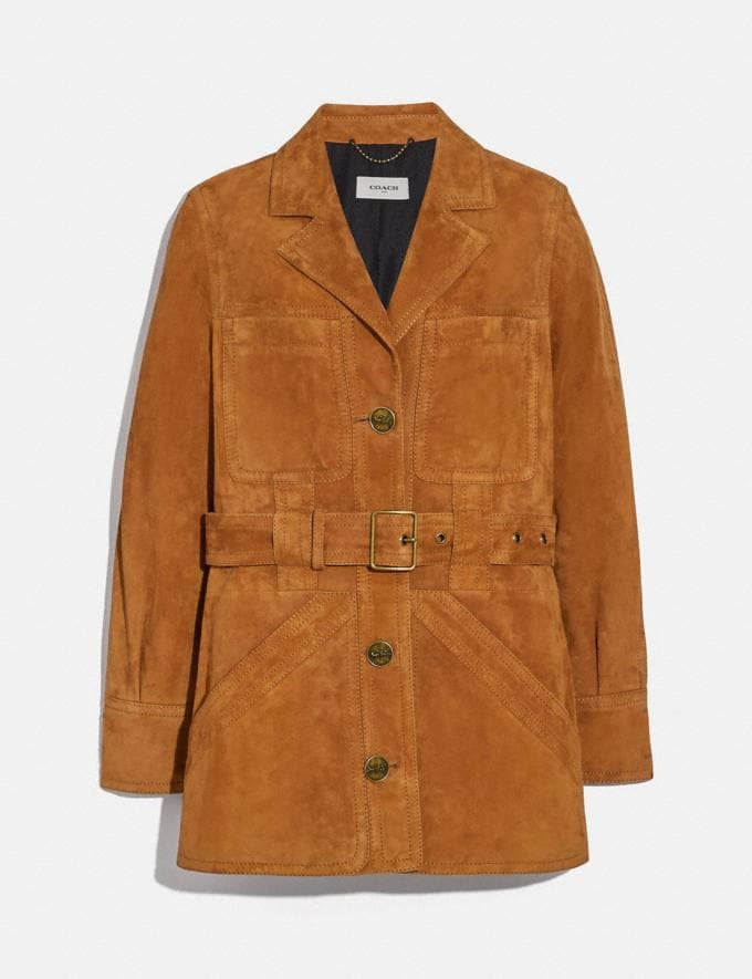 Coach Suede Trench Jacket Canyon Women Ready-to-Wear