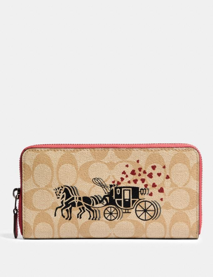 Coach Accordion Zip Wallet in Signature Canvas With Horse and Carriage Hearts Motif Sv/Light Khaki Multi/Poppy