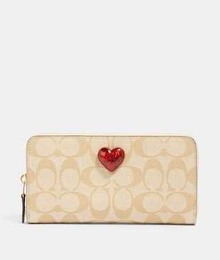 ACCORDION ZIP WALLET IN SIGNATURE CANVAS WITH HEART