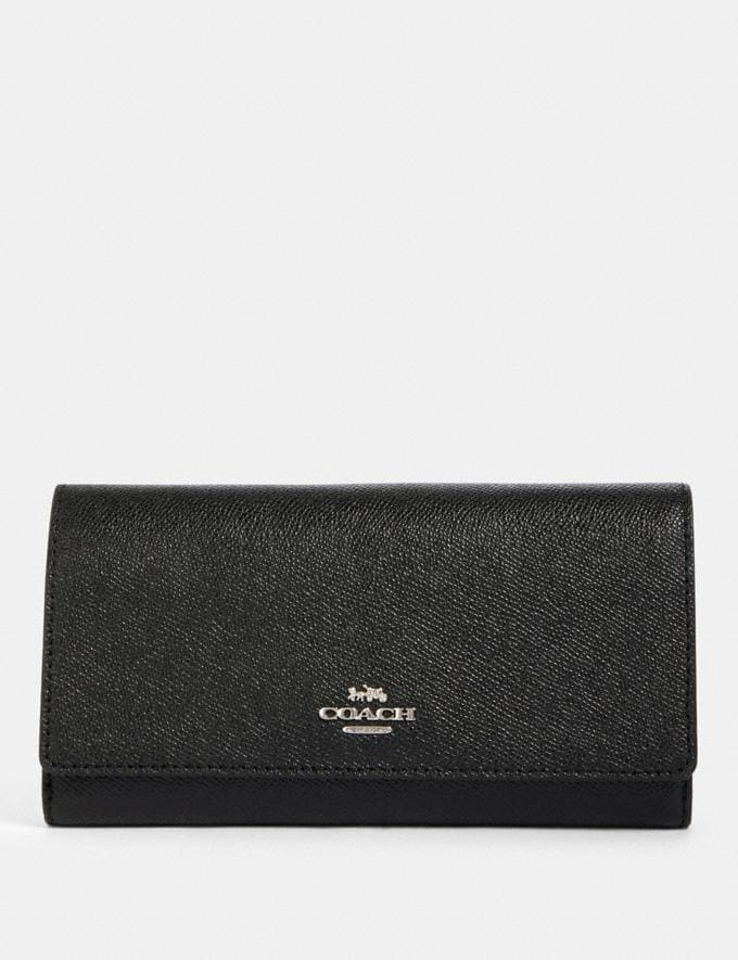 Coach Trifold Wallet With Crayon Hearts Print Interior Sv/Black