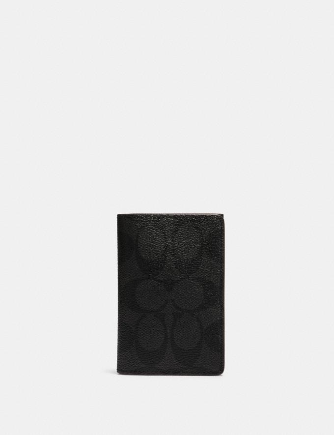 Coach Business Card Case in Signature Canvas Qb/Black/Black
