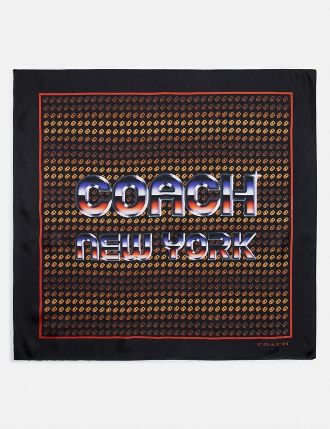 Coach Retro Coach Stack Geo Print Silk Bandana Black Women Accessories Scarves and Gloves