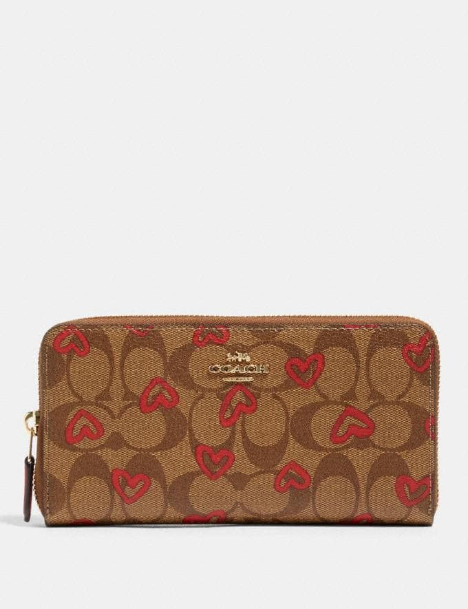 Coach Accordion Zip Wallet in Signature Canvas With Crayon Hearts Print Im/Khaki Red Multi