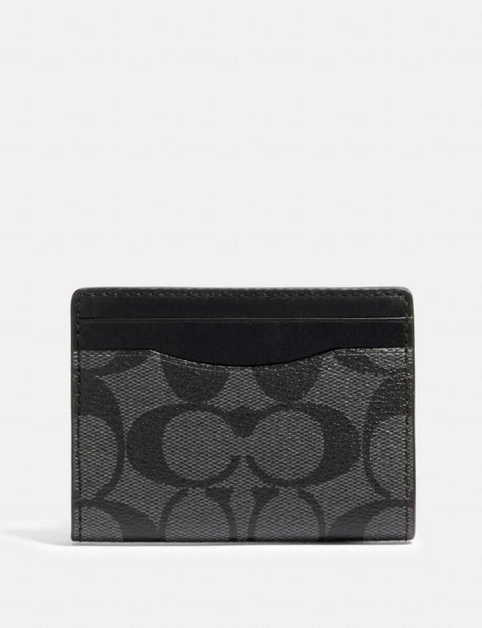 Coach Magnetic Card Case in Signature Canvas Qb/Charcoal