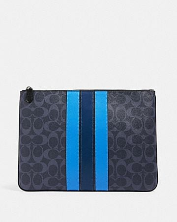 large pouch in signature canvas with varsity stripe